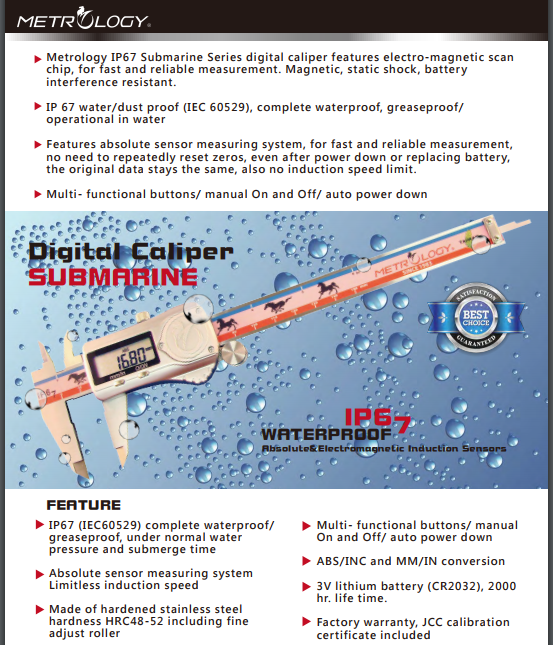Electronic Digital Caliper ((IP67)) Metrology | Model EC-9001SS