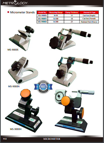 Đế kẹp panme Metrology | Model MS-9000S | MS-9000H | Micrometer Stands